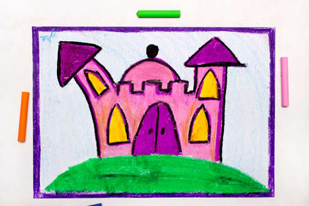 Colorful drawing: Cute pink princess castle Stock Photo