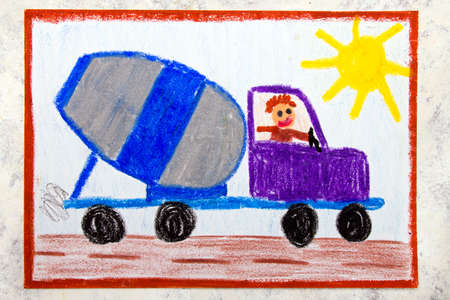 Colorful Hand Drawing: Concrete Mixer Delivery Truck