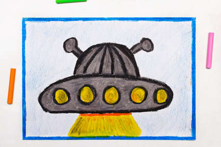 Colorful drawing: ufo, alien spaceship