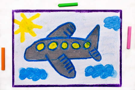 Photo of colorful drawing: Small blue airplane Stock Photo