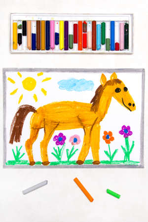 Colorful drawing: cute smiling horse in the pasture Фото со стока