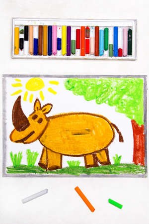 Colorful drawing: cute smiling rhinoceros in forest