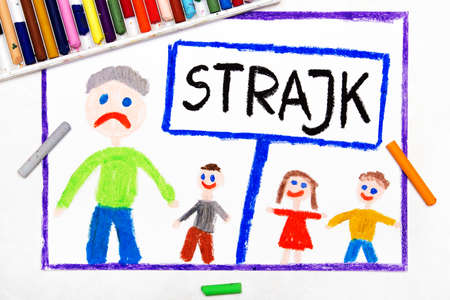 Colorful drawing: Teachers strike in Poland. Polish word STRIKE, teacher and students Stock Photo
