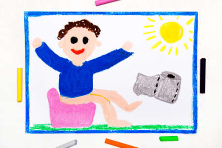 Colorful drawing: smiling child on the potty Stock Photo