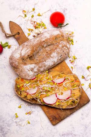 Healthy breakfast: tasty sandwiches