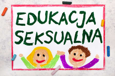 Photo of colorful drawing: Words Sex Education in Polish language Фото со стока