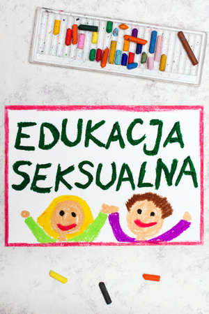 Photo of colorful drawing: Words Sex Education in Polish language. Фото со стока