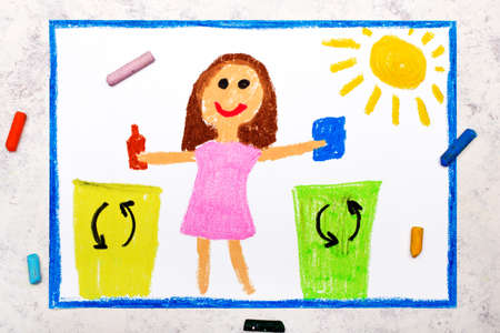 Photo of colorful drawing:  Waste separation. Smiling girl segregating their garbage to different colored trash bins. Waste sorting to help safe the planet