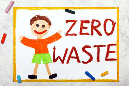 Zero waste concept. Smiling boy and words. Zero waste. Photo of colorful drawing. Hand drawn illustration.