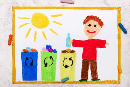 Photo of colorful drawing:  Waste separation. Smiling boy segregating their garbage to different colored trash bins. Waste sorting to help safe the planet