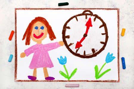 Photo of colorful drawing: Smiling girl standing next to the clock. Time organization