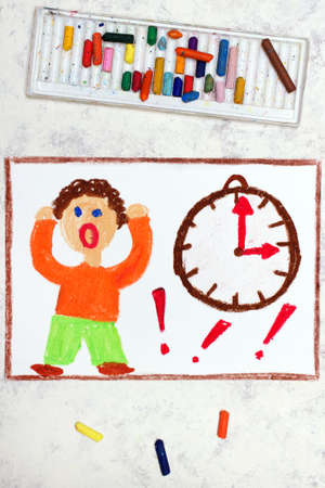 Photo of colorful drawing: Stressed boy standing next to the clock. Problem with time organization Stok Fotoğraf