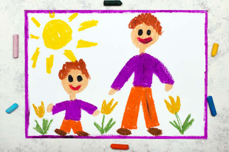 Photo of colorful drawing:  Father and son or older and younger brother. Boys wearing the same clothes