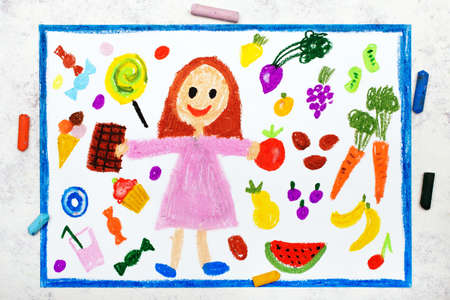 Photo of colorful drawing: The choice between healthy food and unhealthy food. A smiling girl and sweets on one side, vegetables and fruit on the other side.  免版税图像