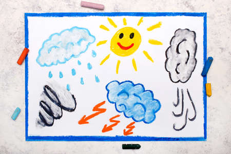 Photo of colorful drawing: Seasons and weather. Hand drawn weather illustrations: sun, rain, wind, storm 免版税图像