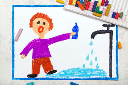 Save water concept. Boy turned on the tap and a lot of water flowing out on floor.  Man wasting water. Photo of colorful drawing. Reklamní fotografie