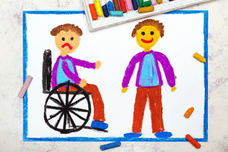 Photo of colorful drawing: Sad boy sitting on his wheelchair. Disabled boy and his healthy friend