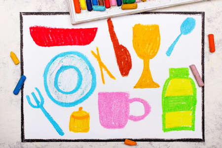 Photo of colorful drawing:  Kitchen utensils:plate, fork, spoon, knife, bowl, glass, bottle.