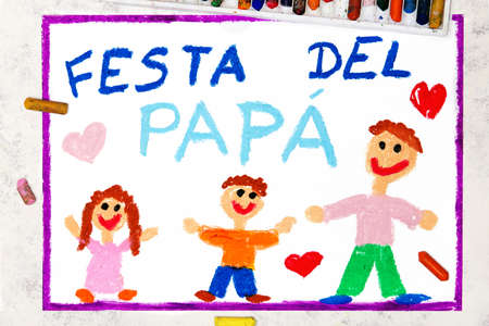 Photo of colorful drawing: Italian lanquage, Fathers day card. Fappy father and his children, daughter and son Banco de Imagens