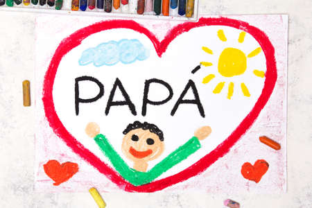 Photo of colorful drawing: Italian lanquage, Fathers day card. Fappy father in a big red heart Banco de Imagens