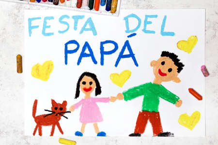Photo of colorful drawing: Italian lanquage, Fathers day card. Fappy father and his daughter.