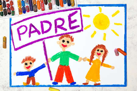 Photo of colorful drawing: Spanish lanquage, Fathers day card. Fappy father and his children, daughter and son