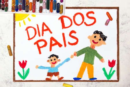 Photo of colorful drawing: Brazilian Fathers day card - Dia Dos Pais. Fappy father and his son