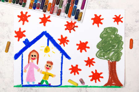 Photo of colorful drawing: Coronavirus epidemic. Stay at home. Mother and son in a house.