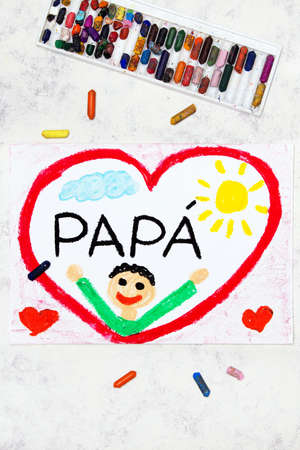 Photo of colorful drawing: Italian lanquage, Fathers day card. Happy father in a big red heart Banco de Imagens