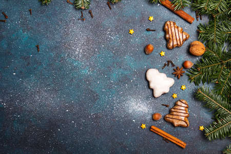 Beautiful Christmas background with decorations. Christmas cookies witch chocolate, gingerbread cookies and fir twigs on dark background. Copy space for your text Stock Photo