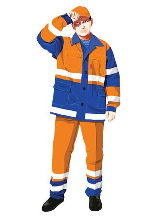 workwear: illustration of a worker isolated on white