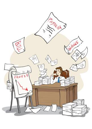 pile of paper: Bored businessman sees the bankrupcy