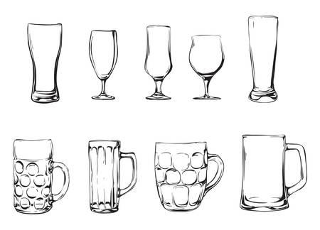 bier glazen: Bier glazen en mokken Stock Illustratie
