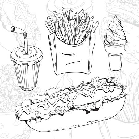 sandwich white background: hand drawn fast food set on abstract background