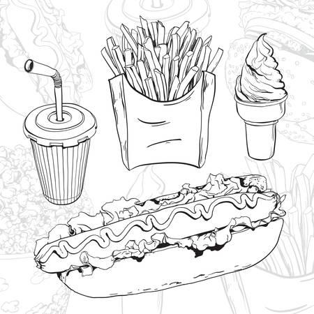 hand getekende fast food set op abstracte achtergrond Stock Illustratie