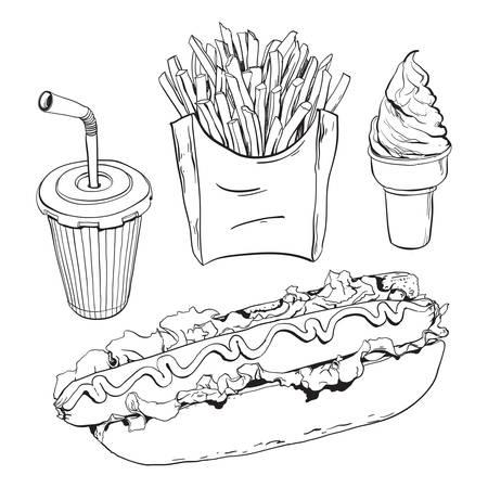 Fast food set geïsoleerd op wit