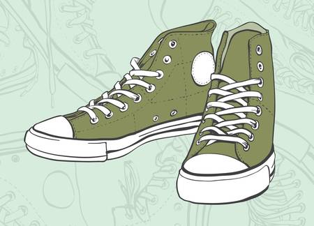 Green pair of shoes in the abstract background Vector