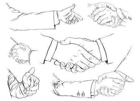 mani che si stringono: 6 illustrazioni di una stretta di mano
