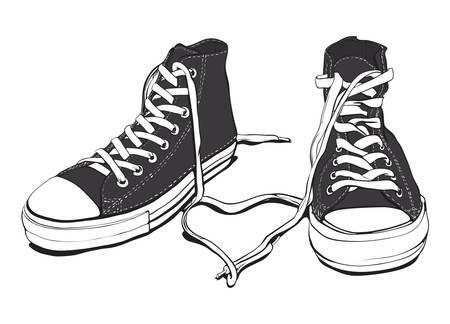 スニーカー: ラブリー ハート良い層で古典的な黒と白スニーカー組織、完全に編集可能な白で隔離されます。  イラスト・ベクター素材