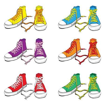chaussure sport: Diff�rents Sneakers couleurs avec joli coeur