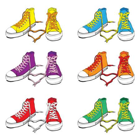 Different Colors Sneakers With Lovely Heart Vector