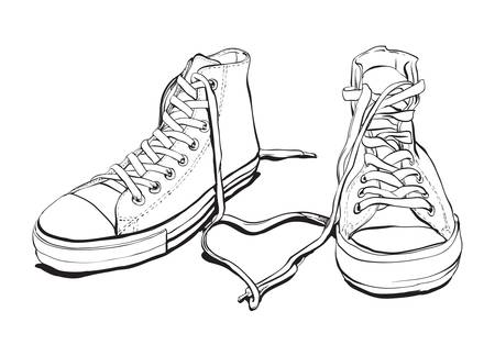 shoelaces: Hand drawn Sneakers With Lovely Heart Illustration