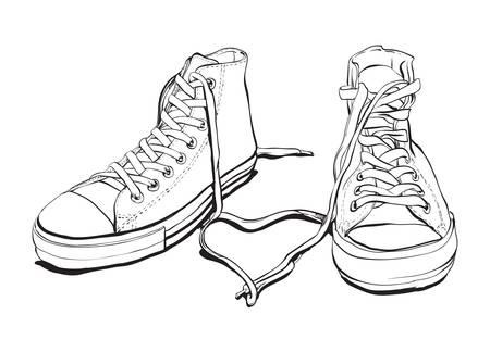 Hand getrokken Sneakers Met Lovely Heart Stock Illustratie