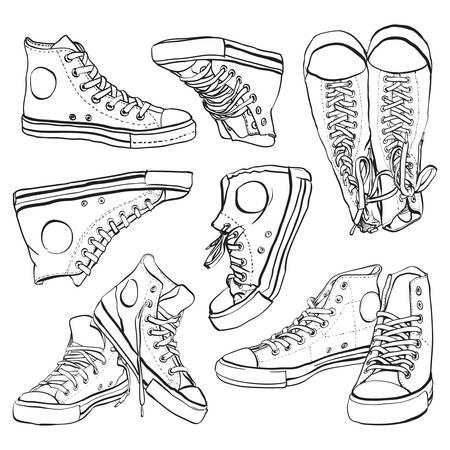 Vector hand getekende illustratie van sneakers op wit wordt geïsoleerd