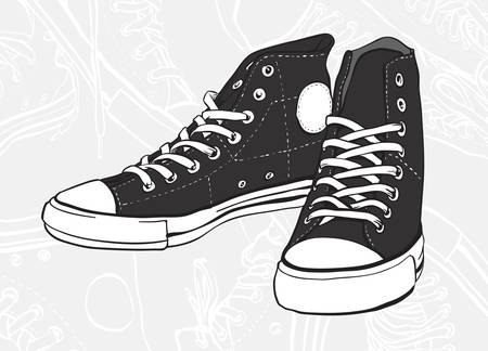 zapatos escolares: Par clásico en blanco y negro de zapatillas de deporte