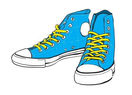 sneakers: Blue sneakers with yellow lace Illustration