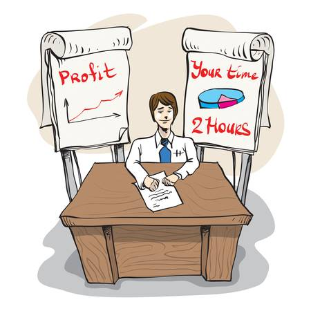 flipchart: Confident smiling businessman sitting at the table near some flip charts