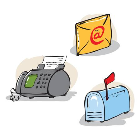 fax: illustration of some communication objects  fax, mailbox and e-mail letter