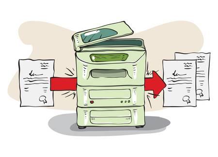 fotocopiadora: Copy Machine copia algunos documentos Vectores