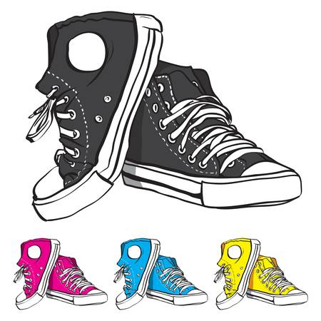 illustration of pair of sneakers with some color variants Vector